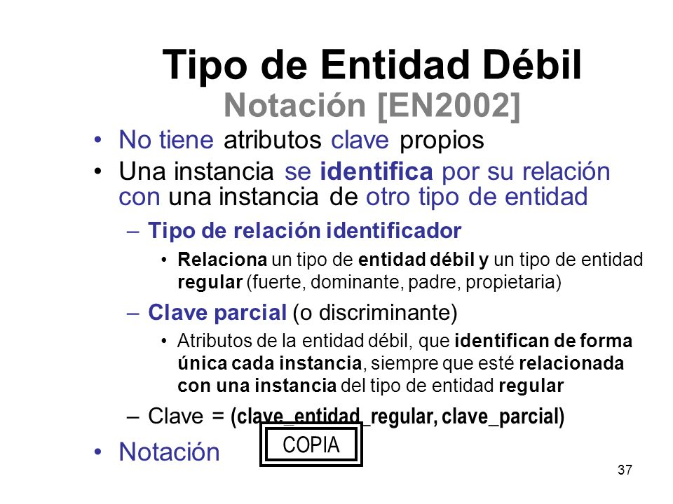 Tipo de Entidad Débil Notación [EN2002]